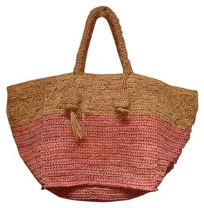 florabella Raffia Tote in Yellow/Peach