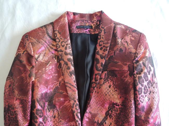 Anthony Vaccarrello Jacquard Metallic Leopard Jacket Red Blazer