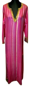 Pink/Gold Maxi Dress by Armand Diradourian Beaded Embellished