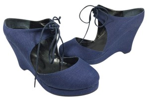 Dru New York Canvas Navy Wedges