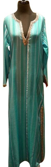 Turquoise/ Silver Maxi Dress by Armand Diradourian Beaded Embellished Image 0