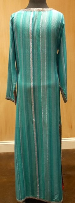 Turquoise/ Silver Maxi Dress by Armand Diradourian Beaded Embellished Image 3