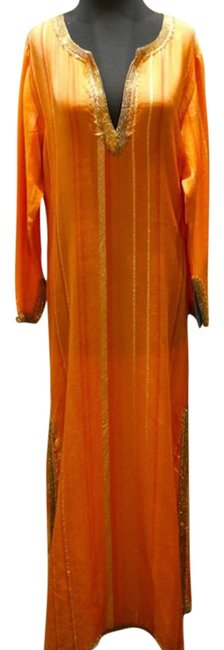 Preload https://item2.tradesy.com/images/armand-diradourian-orangegold-woven-silk-and-cashmere-jeweled-caftan-long-casual-maxi-dress-size-12--3692986-0-0.jpg?width=400&height=650