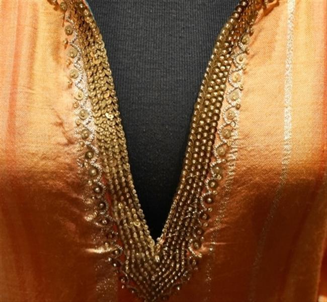 Orange/Gold Maxi Dress by Armand Diradourian Sequined Embellished Image 2