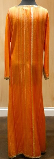 Orange/Gold Maxi Dress by Armand Diradourian Sequined Embellished