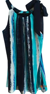 Ann Taylor Chiffon Tunic Bow Gradient Top Blue