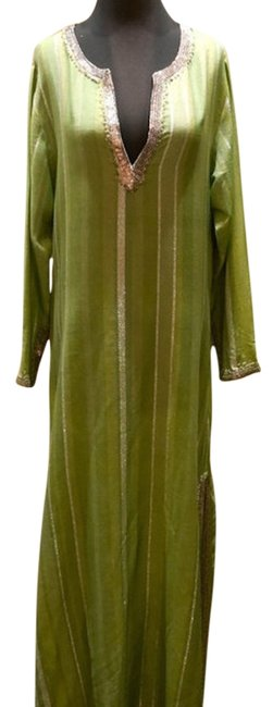Item - Green/Silver Woven Silk and Cashmere Sequined Caftan Long Casual Maxi Dress Size 10 (M)