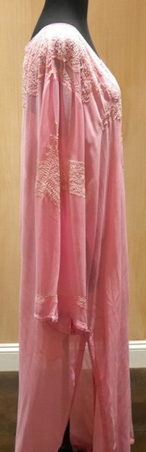 Graham Kandiah Graham Kandiah Barbados Beaded Caftan/Cover Up V-Neck Swim Cover Up - Soft Pink with White Embroidery - Image 1