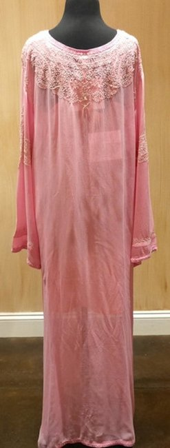 Graham Kandiah Graham Kandiah Barbados Beaded Caftan/Cover Up V-Neck Swim Cover Up - Soft Pink with White Embroidery - Image 2