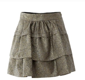 Diane von Furstenberg Metallic Mini Out Mini Skirt Gold & Silver Brocade