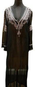 Graham Kandiah Graham Kandiah Barbados Beaded Caftan -Sheer Black with White Embroidery
