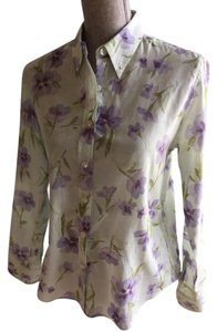 The Limited Size Small Floral Floral Small Button Down Shirt Green, Purple