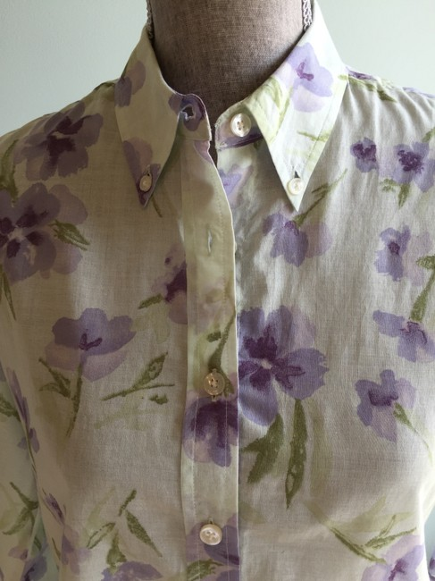 The Limited Size Small Tops Floral Tops Floral Tops Small Button Down Shirt Green, Purple Image 1