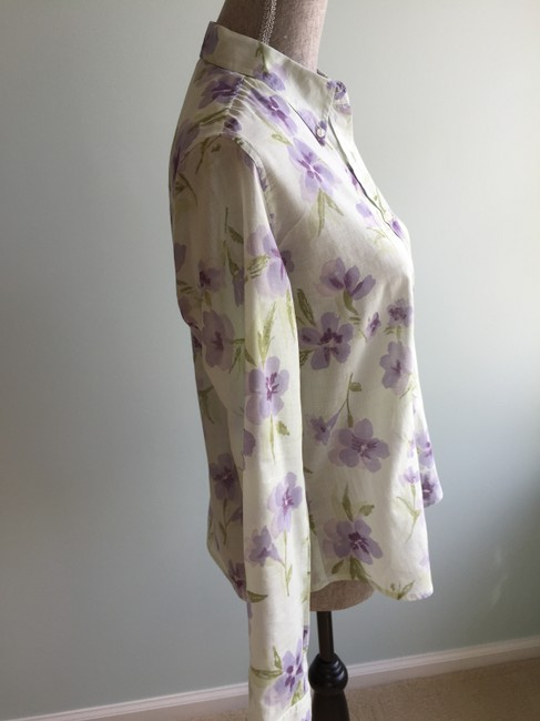 The Limited Size Small Tops Floral Tops Floral Tops Small Button Down Shirt Green, Purple Image 2