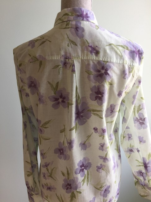 The Limited Size Small Tops Floral Tops Floral Tops Small Button Down Shirt Green, Purple Image 3