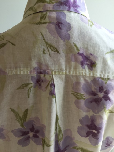 The Limited Size Small Tops Floral Tops Floral Tops Small Button Down Shirt Green, Purple Image 4