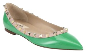 Valentino Rock Rockstud Stud Patent Leather Leather Ballet Pump Green Flats