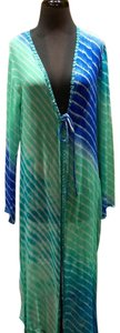 Graham Kandiah Graham Kandiah Quintana Tie Dyed Silk and Mirrored Cover Up Caftan