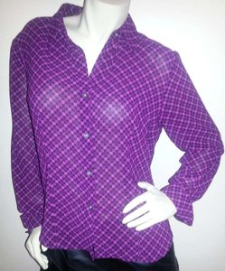 New York & Company Button Down Shirt purple, pink & black squares