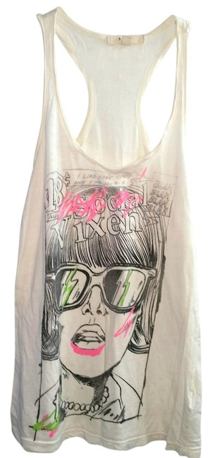 Forever 21 Comic Stamp Graphic Racer-back Print Top White