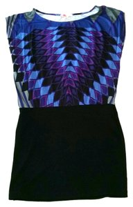 Forever 21 Pattern Blue Black Stretchy Dress