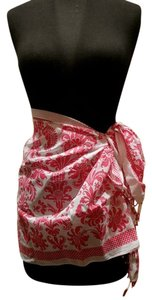 Graham Kandiah Graham Kandiah Toile Pink and White Sarong with Beaded Fringe