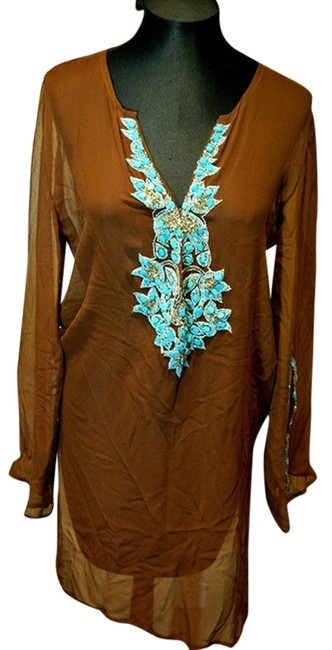 Inca Inca Brown Sheer Caftan/Cover Up with Turquoise Jeweled Neckline