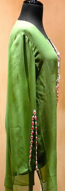 Inca Inca Sheer Caftan/Cover Up in Lime Green with Coral Beading