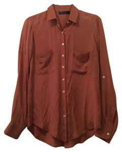 Topshop Button Down Shirt Dusty Orange