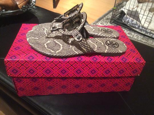 Tory Burch Black/Natural snake embossed leather Sandals