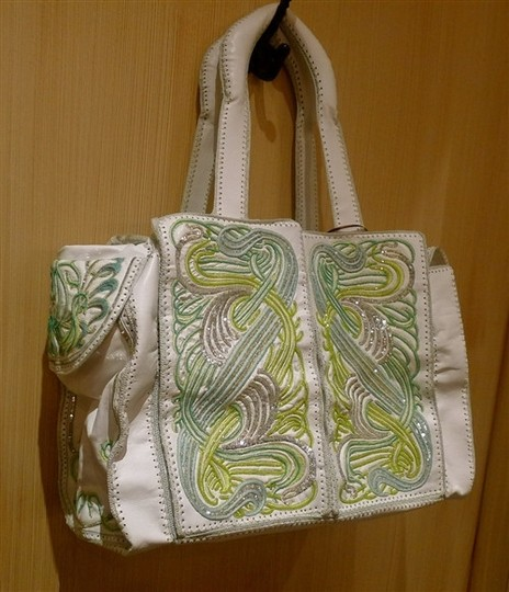 Buba Embellished Embroidered White/Green/Silver Diaper Bag Image 1