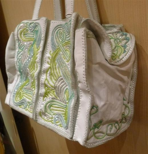 Buba Embellished Embroidered White/Green/Silver Diaper Bag