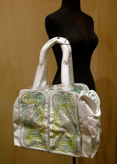Buba Embellished Embroidered White/Green/Silver Diaper Bag Image 3
