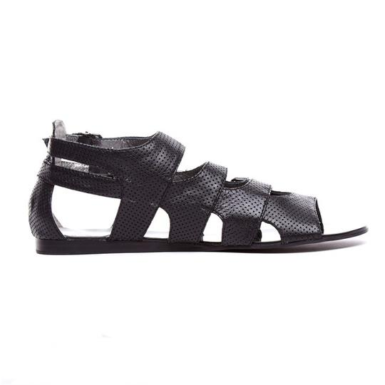 Grey City Edgy Leather Black Sandals Image 1