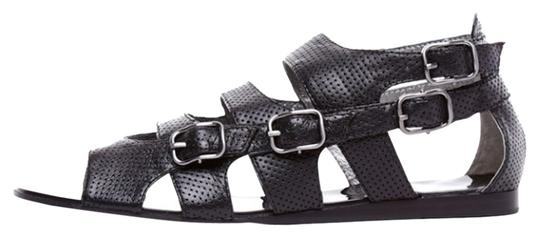 Grey City Edgy Leather Black Sandals