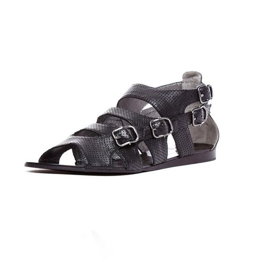 Grey City Edgy Leather Black Sandals Image 2