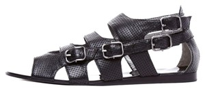 Edgy Leather Silver Hardware Black Sandals