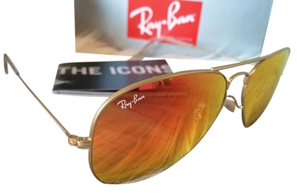 aa8b5a9e11a Ray-Ban Authentic Ray-Ban Aviator Flash Sunglasses RB3025 Orange Mirror Lens  With Gold ...