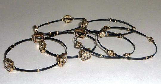Not Rated Set of 6 Stackable Black Bracelet Bangles with Rhinestones