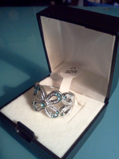Other Silver plated party ring with aqua blue stones