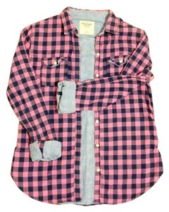Abercrombie & Fitch Button Down Shirt Pink and black