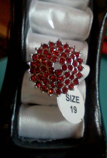 Other Silver plated party ring with red cluster of stones