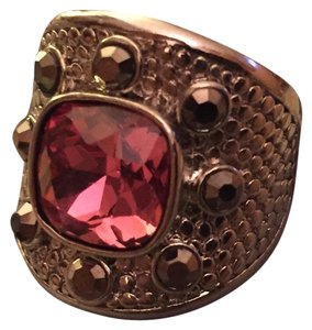 Other Silver shield party ring with pink and dark green stones