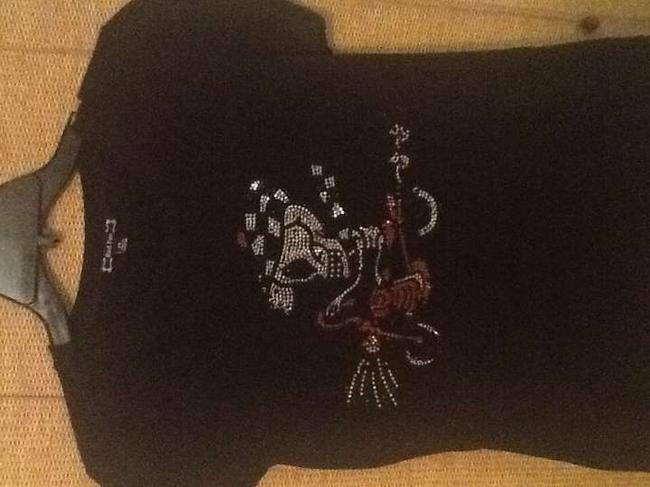 Red Fox Biker Chick Skull Ed Hardy Bling Rhinestones T Shirt Black black silver red stones