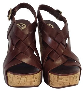 Tory Burch Ace Brown Leather Sandals Wedges