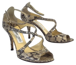 Jimmy Choo Ivette Snake Print Leather Sandals