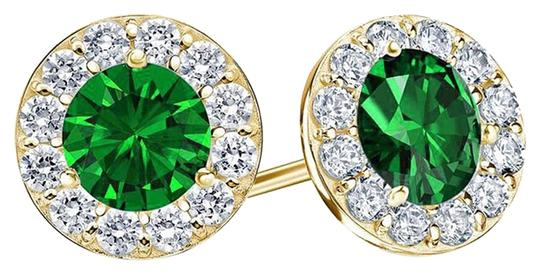 LoveBrightJewelry May Birthstone Emerald and CZ Halo Stud Earrings 18K Yellow Gold Over Sterling Silver 1.50 CT TW