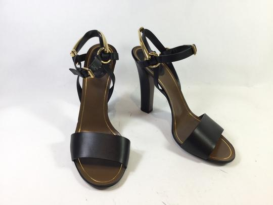 Gucci Tess Leather Ankle Wrap Black Sandals