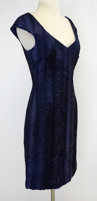 Badgley Mischka short dress Navy Textured Cap Sleeve on Tradesy