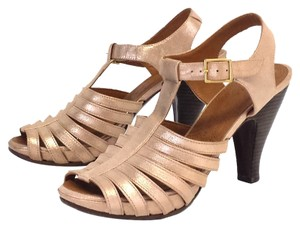 Chie Mihara Metallic Rose Gold Leather Sandals